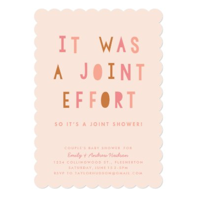 Joint effort couples baby shower invitation zazzle filmwisefo