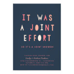 Funny Joint Effort Couples Baby Shower Invitation (Navy)