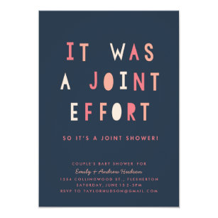 Joint baby shower invitations announcements zazzle joint effort couples baby shower invitation navy filmwisefo Images