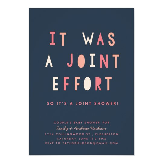 Joint Effort Couples Baby Shower Invitation Navy Zazzlecom