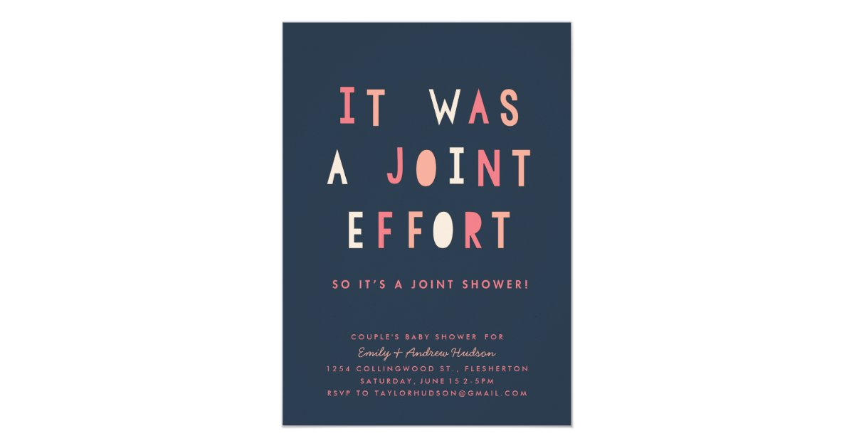 Joint Effort Couple\'s Baby Shower Invitation Navy | Zazzle.com