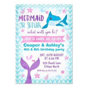 Joint Mermaid And Shark Birthday Invitation