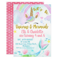 Joint Mermaid and Unicorn Birthday Invitation
