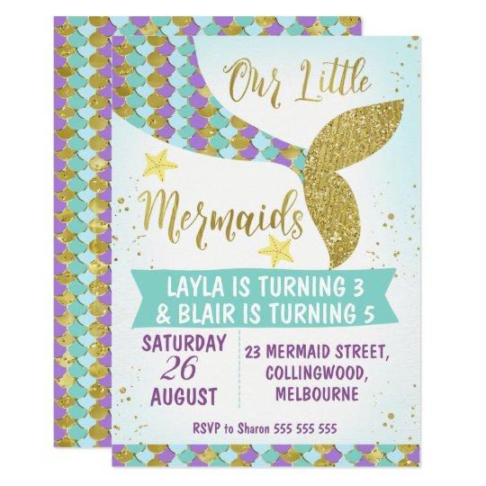 Joint Mermaid Tail Birthday Invitation