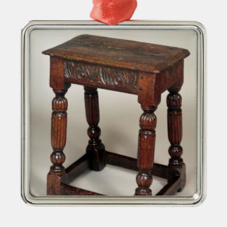 Joint stool square metal christmas ornament
