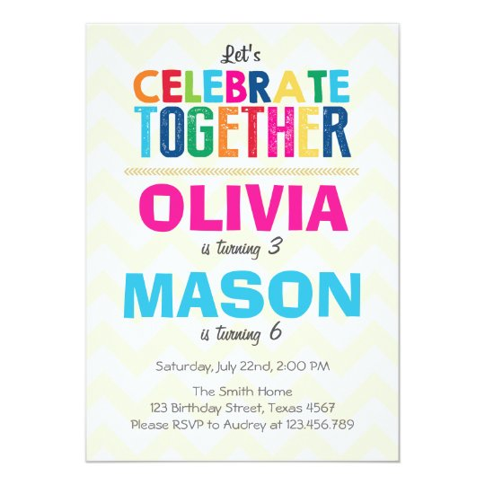 joint twin birthday party invitation zazzle com