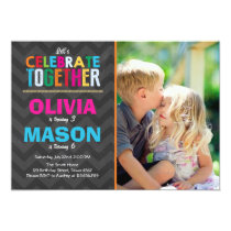 Joint twin birthday party invitation Boy Girl