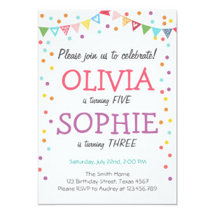 Joint birthday party invitations announcements zazzle joint twin birthday party invitation confetti filmwisefo