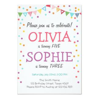 Joint twin birthday party invitation confetti
