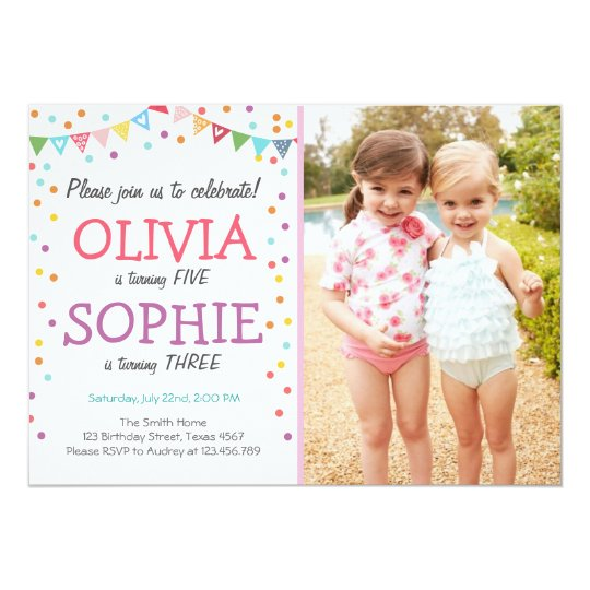 joint twin birthday party invitation confetti zazzle com