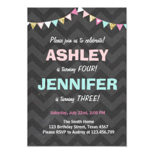 Joint birthday party invitations announcements zazzle joint twin birthday party invitation twins dual filmwisefo