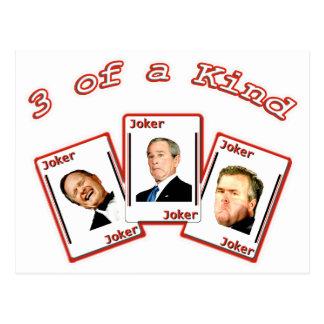 JOKER 3 Three of a Kind - George HW Dubya Jeb Bush Postcard
