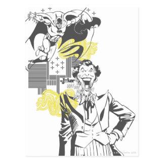 Joker and Batman Comic Collage Postcard