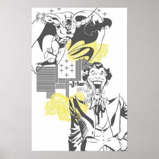 Joker and Batman Comic Collage Poster