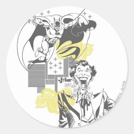 Joker and Batman Comic Collage Classic Round Sticker