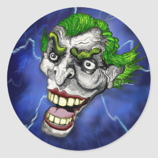 Joker Jester in a Lightning Storm by Doug LaRue Classic Round Sticker