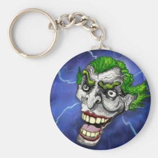 Joker Jester in a Lightning Storm by Doug LaRue Keychain