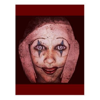 Joker Raggedy-Ann Clown With Swirly Eyes Postcard