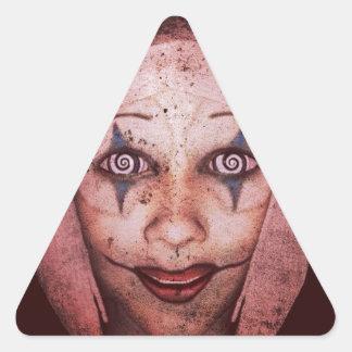 Joker Raggedy-Ann Clown With Swirly Eyes Triangle Sticker