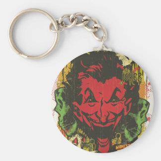 Joker Retro Comic Book Montage Basic Round Button Keychain