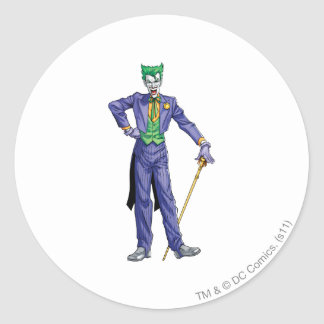 Joker stands with Cane Round Stickers