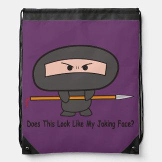 """Joking Face"" Stringbag- A Nawty Ninja Design Drawstring Backpack"