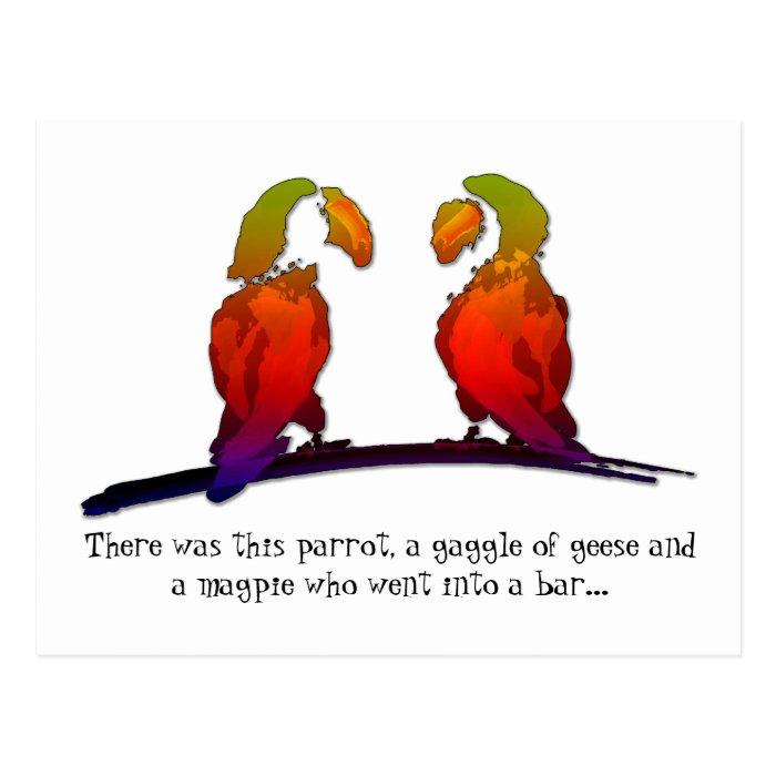 Joking Parrots Postcard