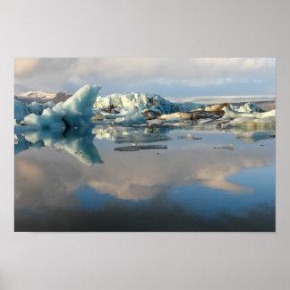 Jokulsarlon iceberg lake reflection poster