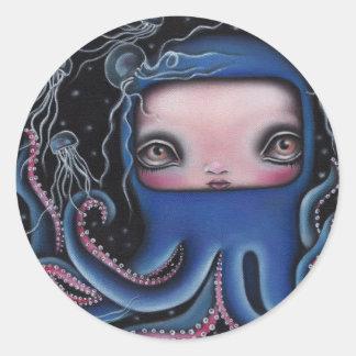 Jolenta Octopus Girl Classic Round Sticker