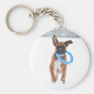 Jolie playing frizbee in the snow basic round button keychain