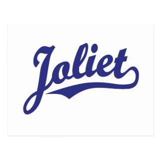 Joliet script logo in blue postcard