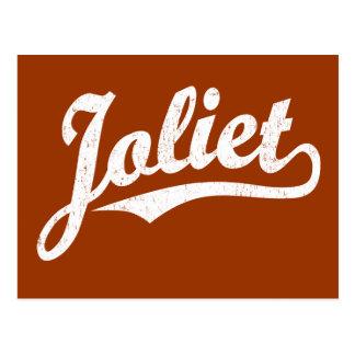 Joliet script logo in white distressed postcard