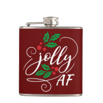Jolly AF Christmas Holly Alcohol Drinking Humor Flask