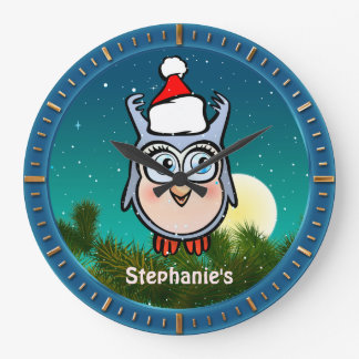 Jolly Baby Owl With Christmas Hat Cartoon Large Clock