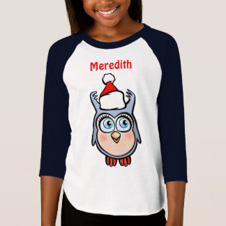 Jolly Baby Owl With Christmas Hat T-Shirt
