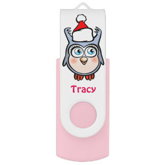 Jolly Baby Owl With Cute Santa Hat Flash Drive