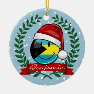 Jolly Bahamas Flag Christmas Style Ceramic Ornament