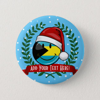 Jolly Bahamas Flag Christmas Style Pinback Button