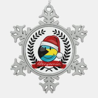 Jolly Bahamas Flag Christmas Style Snowflake Pewter Christmas Ornament