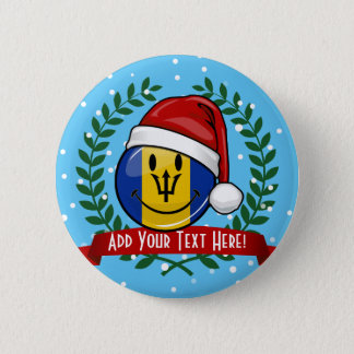 Jolly Barbados Flag Christmas Style Pinback Button