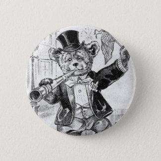 Jolly Bear Jerry - Letter J - Vintage Teddy Bear Pinback Button