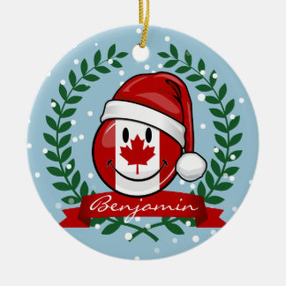 Jolly Canadian Flag Christmas Style Ceramic Ornament