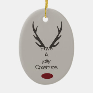 Jolly Christmas Antlers Ceramic Ornament