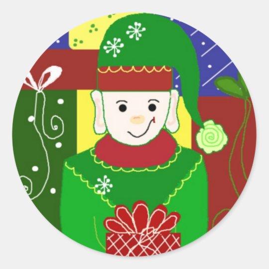 Jolly Christmas Elf Classic Round Sticker