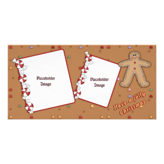 Jolly Christmas - Gingerbread Design Customized Photo Card