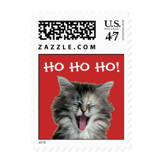 Jolly Christmas Kitten postage stamps