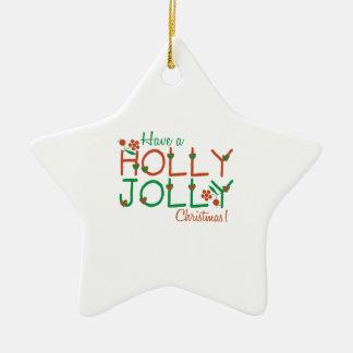 Jolly Christmas Double-Sided Star Ceramic Christmas Ornament