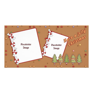 Jolly Christmas - Tree and Candy Photo Card Template