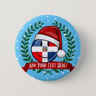 Jolly Dominican Republic Flag Christmas Pinback Button