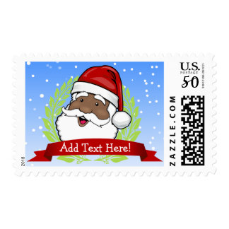 Jolly Ethnic Santa Custom Postage
